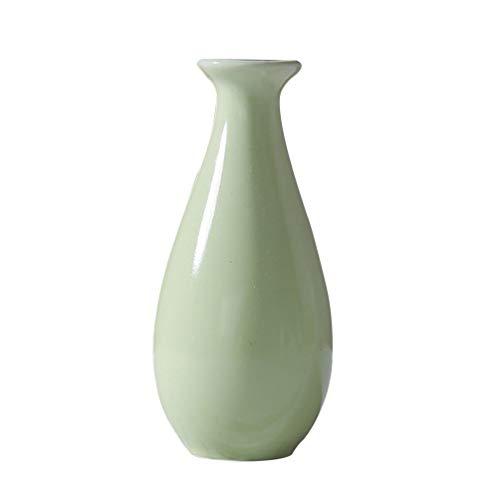 Cabilock Jarrón pequeño de cerámica con forma de flor, para decoración del hogar y la oficina (verde)