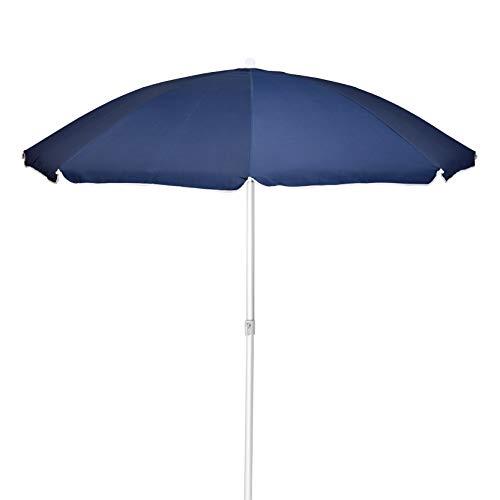 XONE Ombrellone Mare Spiaggia Blu 200cm Portatile | Ombrellone Professionale in Poliestere Resistente UV e Alluminio con Sacca Trasporto Inclusa, Diametro 2m