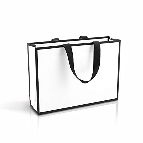 Bolsas de regalo Bolsas de Fiestas Navidad Bolsas de Bodas bolsas de cartón blanco con asas con cinta bolsas de carton 10 un. bolsa para boutiques 35x25x9 cm