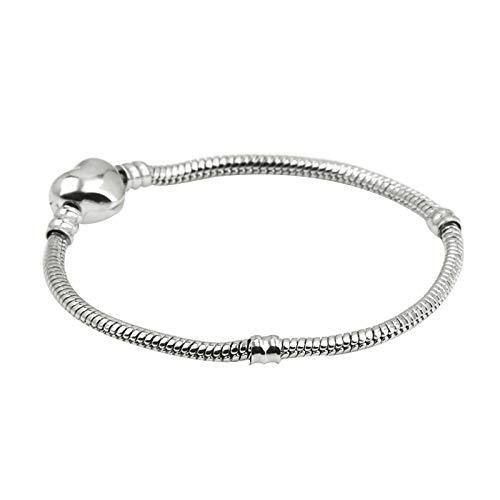 KunBead Mom Mother Snake Chain Basic Stainless Steel Bracelets for Charms Beads for Teen Girls Friends 7''