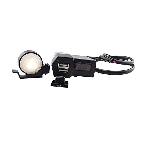 CSQIANG - Cargador de enchufe de alimentación con GPS para motocicleta y voltímetro LED rojo