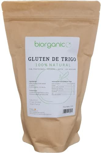 Biorganic Gluten de Trigo 100% Natural | 1 Kg | Keto | Vegano | Ideal para masas y para elaborar Seitán.