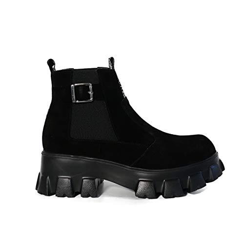 KUZEY SHOES Damskie buty – botki damskie – botki damskie – buty zimowe damskie – botki – damskie – skórzane buty damskie, czarny - czarny - 37 eu