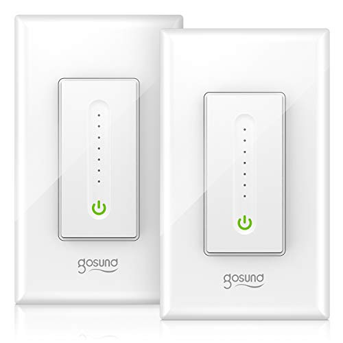 Smart Dimmer Switch, Gosund Smart WiFi Light Switch Compatible with Alexa & Google Home, with Remote Control & Schedule, Neutral Wire Needed, Single-Pole, No Hub Required, Easy Installation (2 Pack)