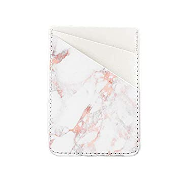 Phone Card Holder Stick Back of Phone uCOLOR PU Leather Wallet Pocket Credit Card ID Case Pouch Sleeves 3M Adhesive Sticker on iPhone Samsung Galaxy Android Smartphones Rose Pink Marble