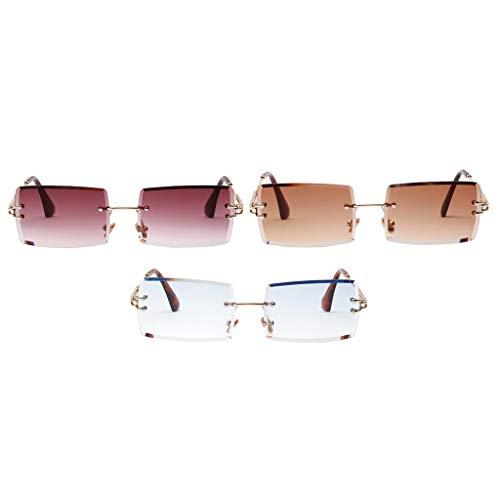 Amuzocity 3 Pares de Gafas de Sol de Moda para Mujer, Lentes Teñidas para Fiestas, Protección UV