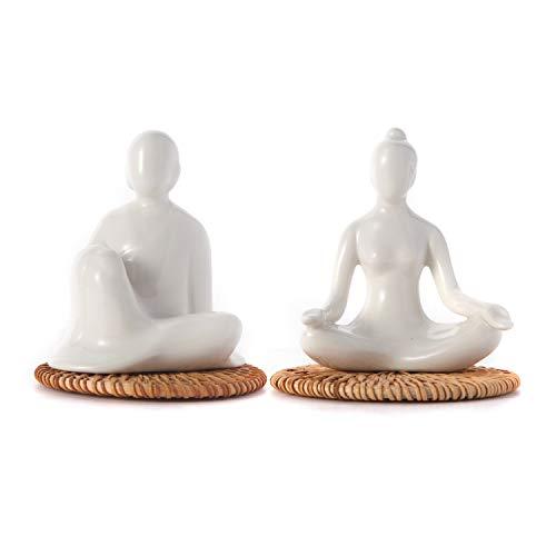 FanChose Set of 2 Ceramic Ornament Yoga Figurine Statue, Home Decor Porcelain Ceramic Meditation Yoga Pose Pottery Ornaments Nonslip Mat Ceramic Yoga Figure