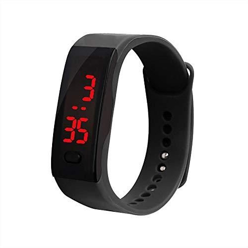 OHQ Reloj Digital con Pantalla Digital LED De Silicona Reloj Deportivo ElectróNico Pulsera para NiñOs Gel De SíLice (Negro)