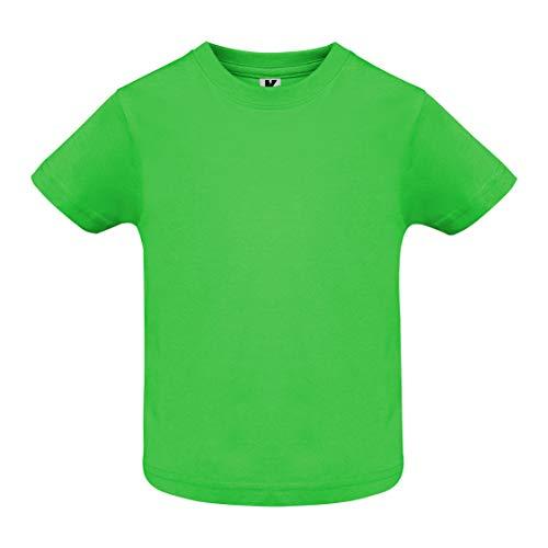 Camiseta de Colores con Manga Corta para Bebés - Prenda de algodón 100%, cómoda, Suave, cálida y Tacto Agradable (Verde, 18 Meses)
