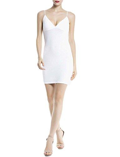 iB-iP Women's Cotton Spaghetti Straps Seamless underdresses Mid-Thigh Full Slip, Size: XL, White