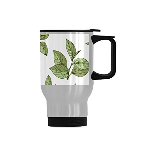 Green Tea Leaves Spring Mens Travel Mug Best Travel Mug Stainless Steel Durable With Handle 14-ounce Cup For Cold & Hot Drinks