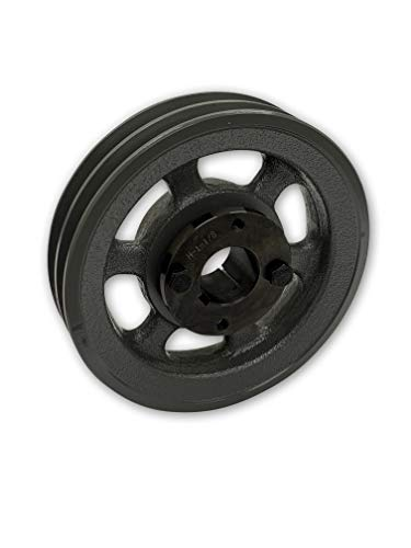 Double Groove 5.95' Cast Iron Electric Motor' H' Pulley/Sheave, BUSHING INCLUDED, For 3/8' and 1/2' Top Width 3L / A/AK / 4L / 4LK Section V Belts, 2 Groove Pulley (1.125 Bore 1-1/8' Shaft)