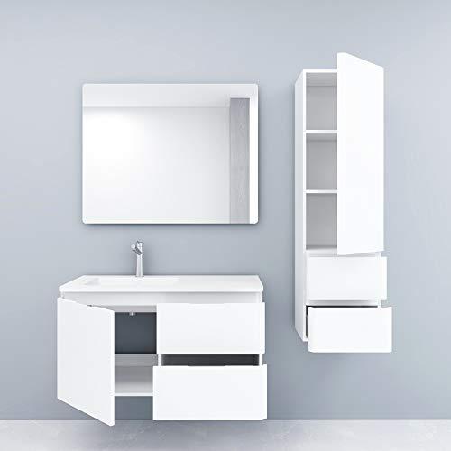XINKROW Badmöbel Komplett Set mit Waschbecken, Badezimmer Möbel mit Badschrank Schmal, Bademöbel Waschtisch Unterschrank 100cm, Waschbeckenunterschrank Hängend Weiß, Badspiegel, Maße:52x100x47cm