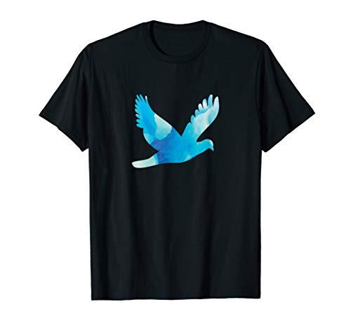 Blauweiße Taube fliegt für den Frieden | Friedenstaube T-Shirt