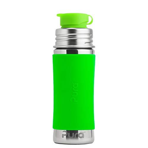PuraSport Bottiglia 300 ml – BigMouth (con rivestimento in silicone) Pura Color/Design Blank + Rivestimento Verde