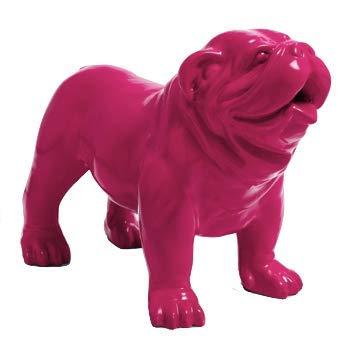 N.C - Estatua de resina decorativa de bulldog inglés (60 cm), color rosa