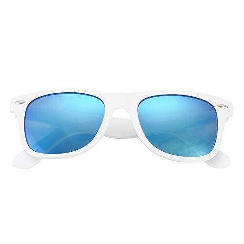 COASION Classic Polarized Sunglasses for Men Women Retro UV400 Brand Designer Sun Glasses (White Frame / Blue Mirror Lens)