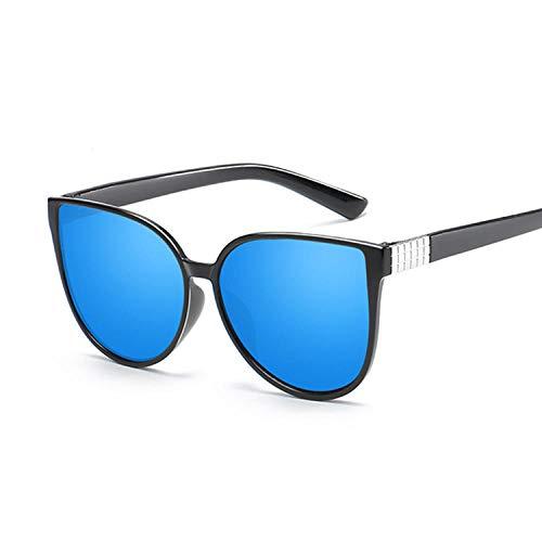 FJCY Gafas De Sol De Ojo De Gato Gafas De Mujer Gafas De Sol De Metal Retro De Lujo para Mujer Espejos Retro De Mujer-Azul