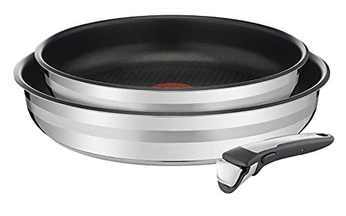 Tefal Ingenio by Jamie Oliver 3-teiliges Pfannen-Set L95694 | 24/28 cm + 1 Griff | Edelstahl | Antihaft-Versiegelung | Thermo-Spot Temperaturindikator | Backofenfest | Induktionsgeeignet