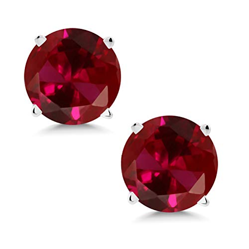 Gem Stone King 14K White Gold Red Created Ruby Stud Earrings For Women 2.00 Ct Round 6MM