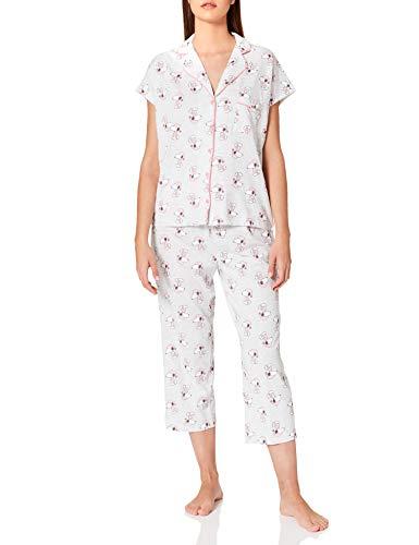 Women' Secret Pijama Corto Camisero algodón Snoopy, Estampado Gris, L para Mujer