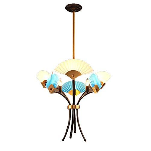 E14 Posmoderno Simple Ventilador-forma Lámpara De Araña Iluminación,Creatividad Personalidad Nuevo Estilo Chino Durante La Iluminación,Salón Comedor Casa De Té Estudio-Oro con oro rosa 6 cabezas