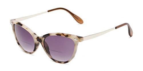 Bifokale Lesesonnenbrille Hellbraun Schildpatt & Silberner Metallbügel UV400 Damen Getönte Gläser Hard Case Tuch 2,00