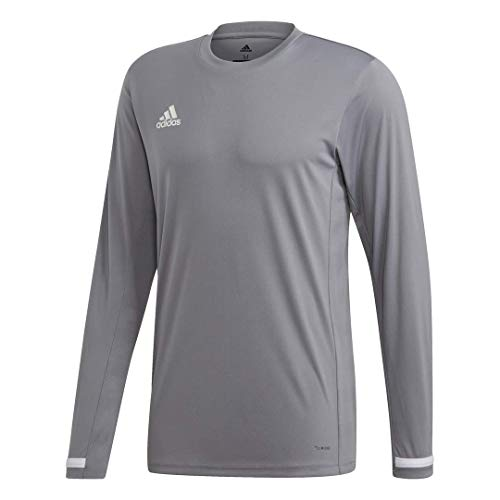 adidas Male Team 19 Long Sleeve Jersey , Grey/White , 2XL
