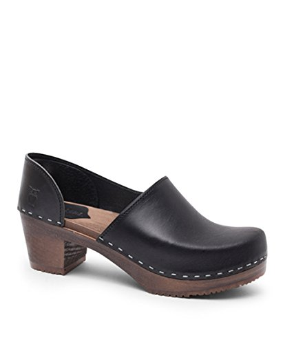 Sandgrens Swedish High Heel Wooden Clogs for Women, US 6-6.5| Brett Black Veg DK, EU 37