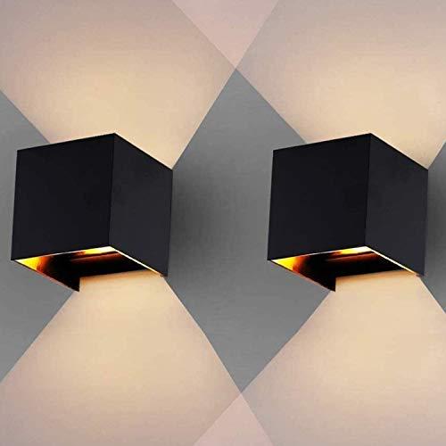 Hengda 2 Stücke LED Wandleuchte Innen Aussen 12W Warmweiß Wandlampe Schwarz, mit Einstellbar Abstrahlwinkel, Up Down Wandbeleuchtung Schlafzimmer Bad Wohnzimmer, IP65