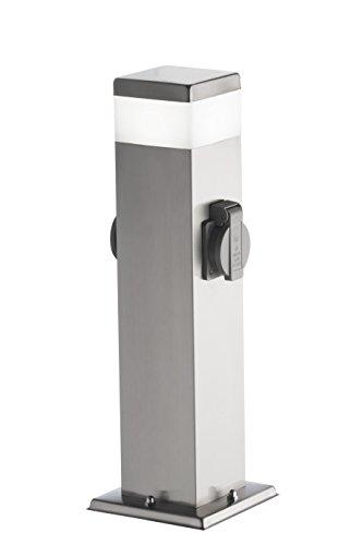 WOFI Außen-Stehleuchte, Metall, Integriert, 7 W, Edelstahl Gebürstet Roh, 12.5 x 12.5 x 50 cm
