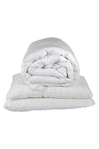 Espritzen - Pack couette 4 saisons composée de 2 épaisseurs détachables 140x200 cm + 2 oreillers 65x65cm - Blanc
