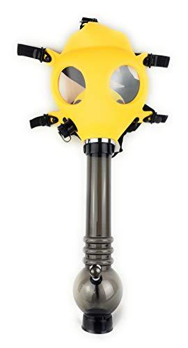 4Smoke Gasmasken-Bong – verstellbar für jede Person – Neuartige Gasmaske mit abnehmbarer Bong – Farbe der Gasmaske wählbar – Farbe und Stil variieren gelb