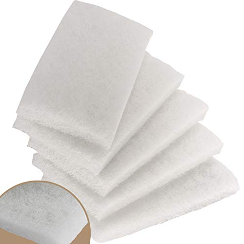 Commercial-Grade Non-Abrasive White Cleaning Pad 5 Pack . Large, Multi-Purpose 10 in x 4 1/2 in Scouring Pad Fits Universal Holders. Great for Scrubbing Sinks, Tile, Windows and Fine China