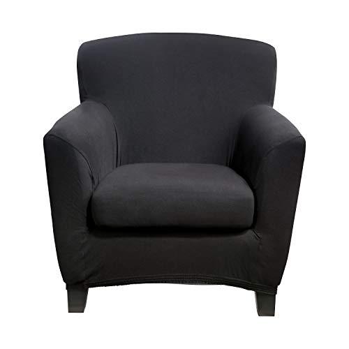 Bellboni® Couchhusse für Einsitzer Couchsessel oder Loungesessel, Sofabezug, bi-elastische Stretchhusse, Spannbezug für viele gängige Einer Sessel, schwarz