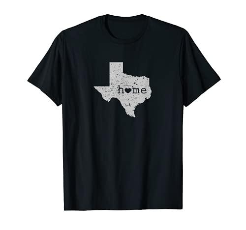 "Camiseta con mapa ""Home"" de Texas ""Is Where the Heart Is Distressed Camiseta"