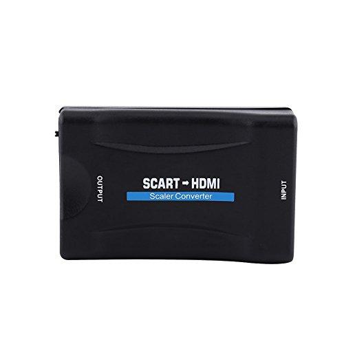 Socobeta - Conversor de audio multifunción ligero y duradero 720P 1080P Plug and Play adaptador de vídeo euroconector a HDMI, soporte PAL NTSC3.58 con cable USB
