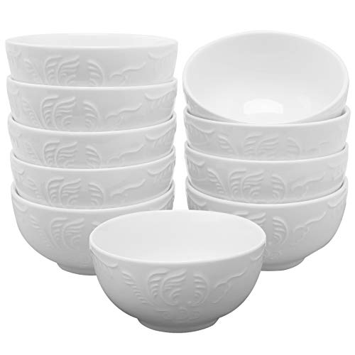 amHomel Soup Bowls-Small Cereal Bowls for Soup, Cereal, Ice Cream, Fruit, Salad, Dip, 4.5 Inch Diameter, 12 Fluid Ounces - Set of 10, Embossed Texture Porcelain Round Bowl Set ,White