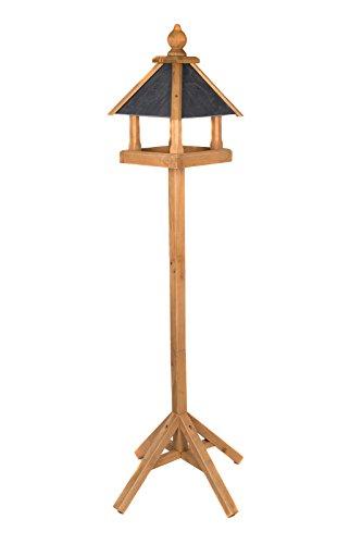Edles Vogelhaus 3035 mit Ständer Massivholz 165 cm hoch und mit Schieferdach gedeckt Futterkrippe Futterspender Futterhaus - 2