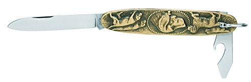 Inconnu Manufacturer 1172 Canif Navette 2 pièces INOX (Lame, ouvre-boîtes), Manche 8,5 cm Laiton, Motif Chiens