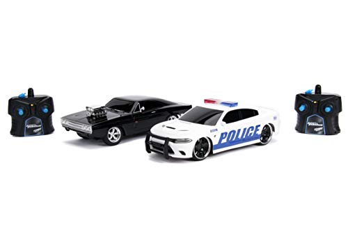 Jada Fast & Furious Chase Twin Pack- Dom's Dodge Charger R/T & Dodge Charger SRT Hellcat, Police & Chase Car Rc, USB Charged, Black and White
