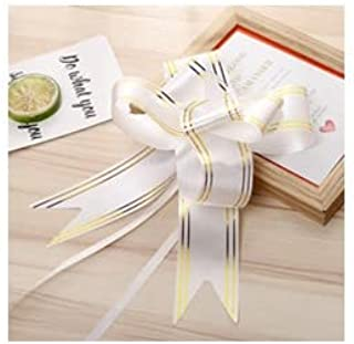 R.S.Collection 10 Bow White Colour 30mm Pull Bow Striped Ribbon String with 46cm Long Tulle Tails, Wedding Party, Bridal G...