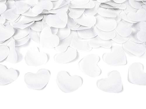 Confetti kanon met witte hartjes, 60cm