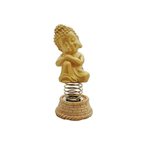 Shoppersduniya Nodding Head Golden Buddha for Car Dashboard | Statue, Showpiece, Item, Figurines, Idol | Health, Wealth, Prosperity, Peace & Meditation