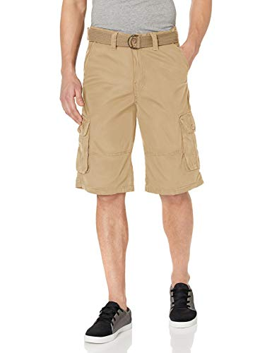 Southpole Men's All-Season Belted Ripstop Basic Cargo Short, Khaki/New, 34