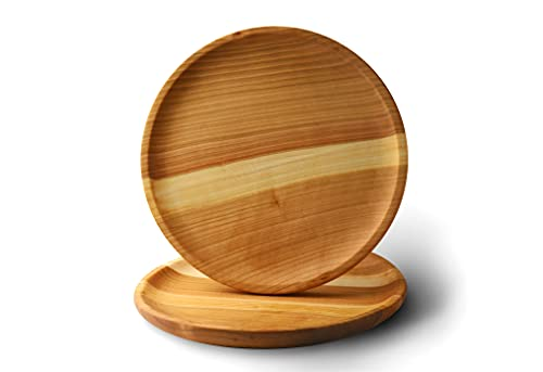 Oak Round Wood Dinner Plates 11 Inches Set of 2 Serving Plate Handcrafted Wooden Dinner Platos for Snack Dessert Steak all Food Eco Charger Great as Gifts