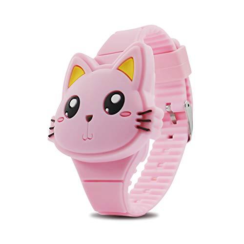Reloj para niños, Reloj para niñas Digital Lindo Forma de Gato Rosa LED Moda Silicona Banda diseño de Concha Reloj de Pulsera niñas niños Regalos