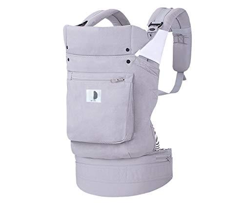 Marsupio neonati ergonomico, Porta-Bebè 4 Posizioni con cappuccio rimovibile/regolabile, da 4 a 20kg. Imbottito e foderato 100% cotone di qualità e traspirante.