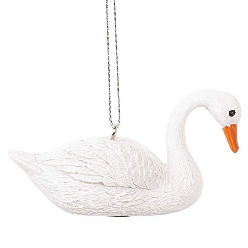 Midwest-CBK Swan Elegant White Resin Stone 3 x 2 Christmas Decorative Hanging Ornament