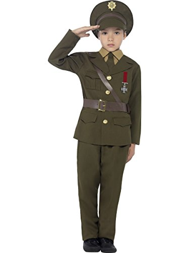 Smiffys Kinder Armee Offizier Kostüm, Jackett mit befestigtem Gürtel, Hose, Hemdattrappe, Krawatte und Hut, Größe: M, 27536